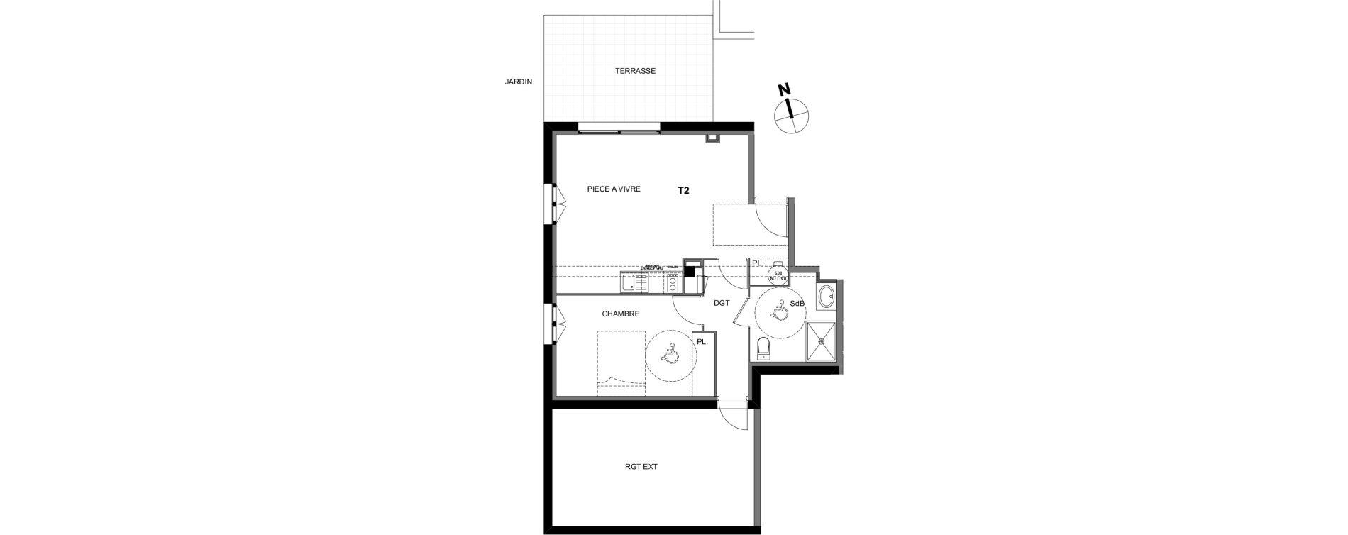 Appartement T2 de 50,00 m2 à Montrabé Centre