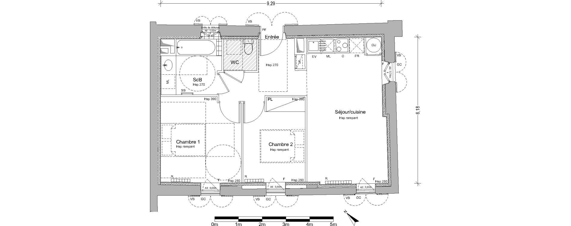 Appartement T3 de 54,95 m2 à Pin-Balma Centre