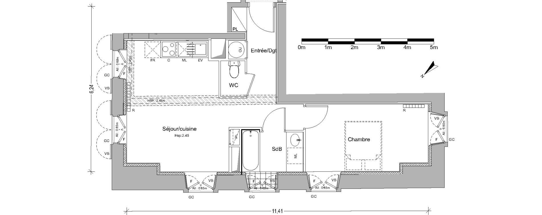 Appartement T2 de 41,80 m2 à Pin-Balma Centre