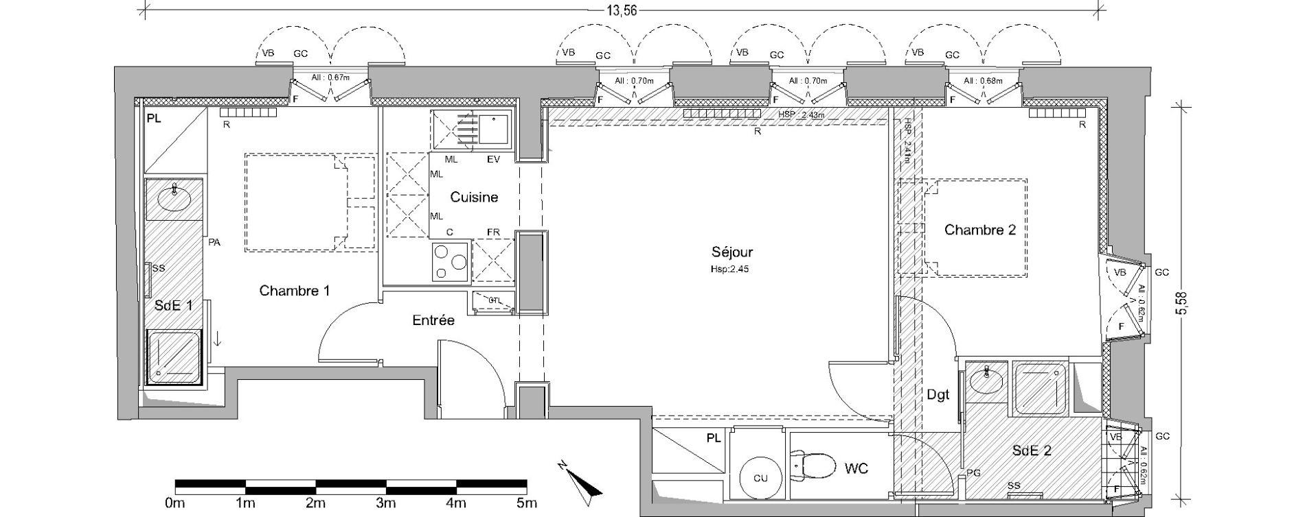 Appartement T3 de 59,44 m2 à Pin-Balma Centre