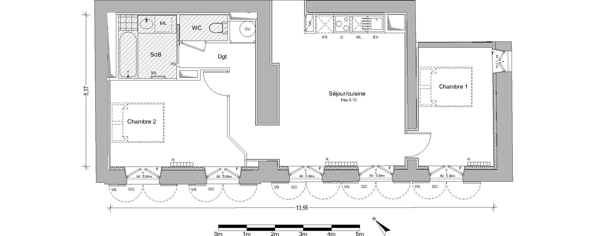 Appartement T3 de 62,46 m2 à Pin-Balma Centre