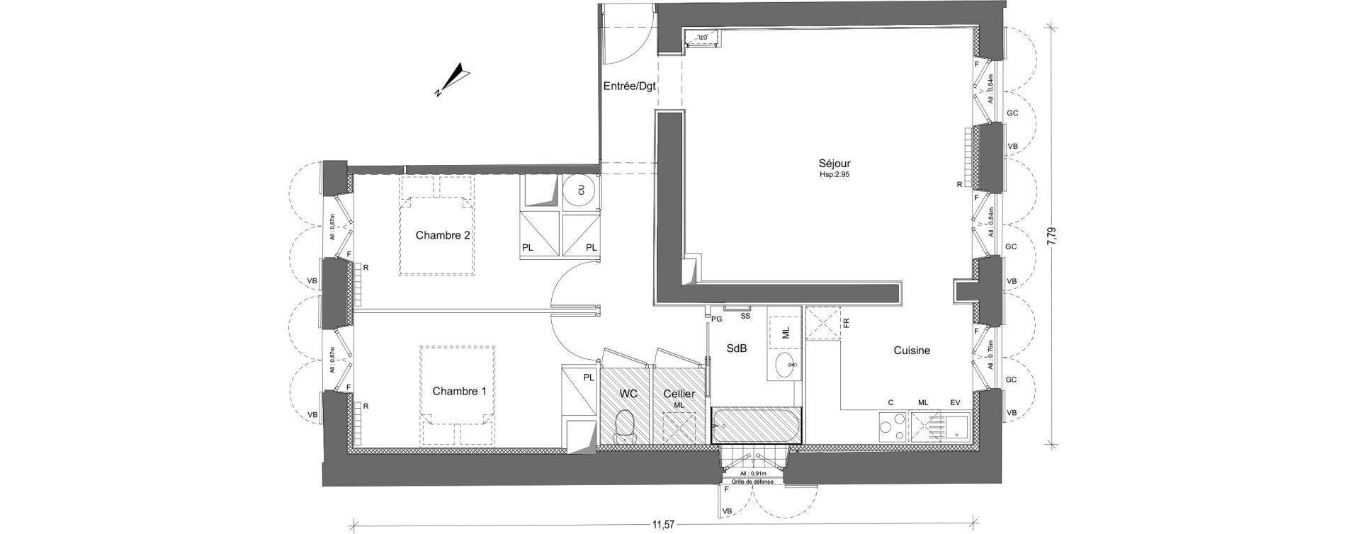 Appartement T3 de 69,54 m2 à Pin-Balma Centre