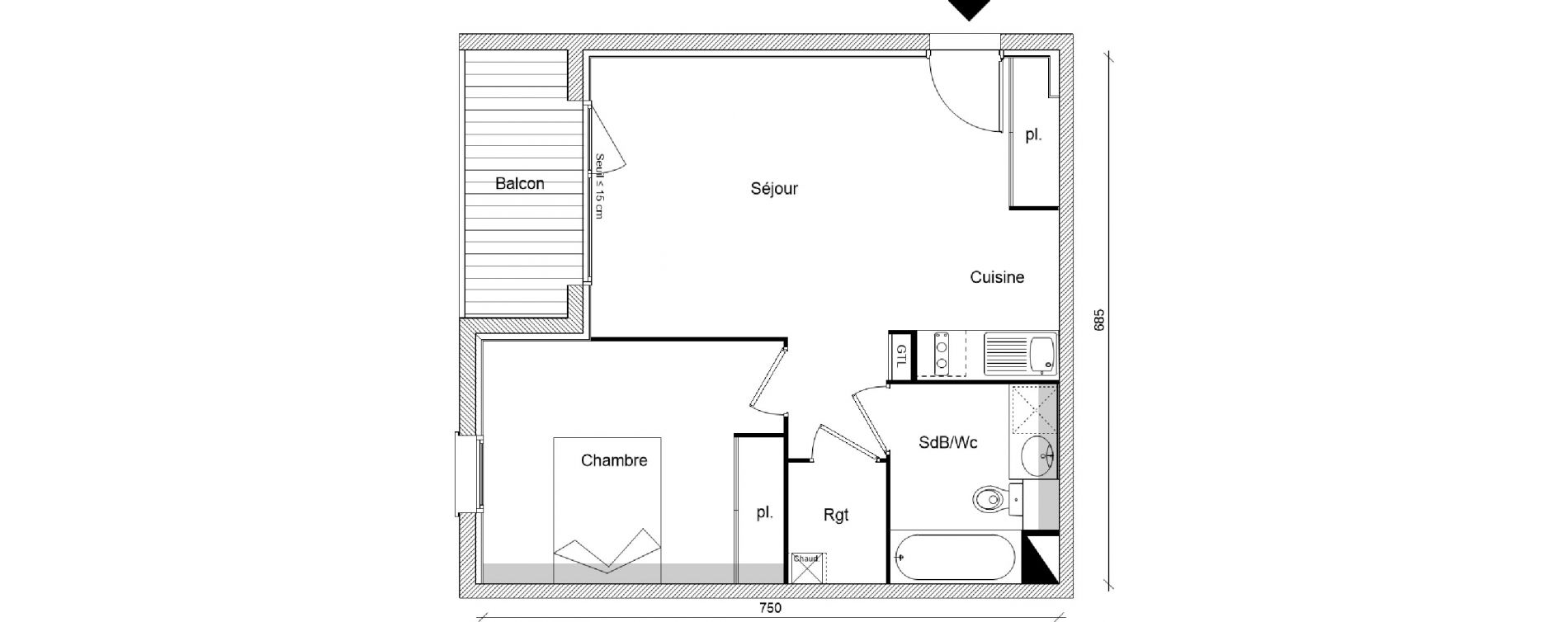 Appartement T2 de 44,94 m2 à Pins-Justaret Centre