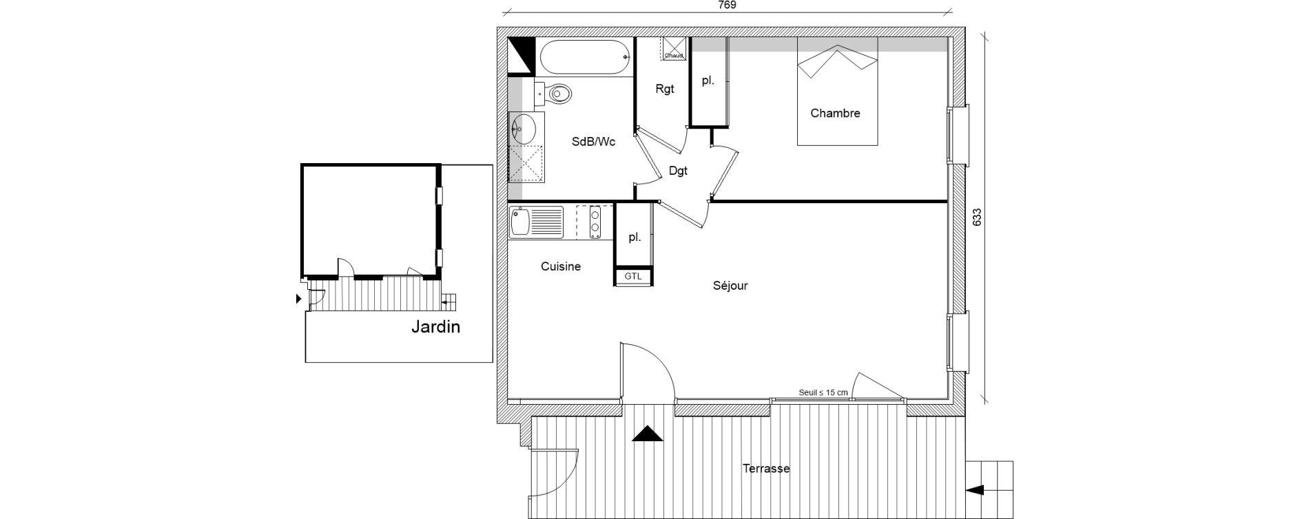 Appartement T2 de 47,29 m2 à Pins-Justaret Centre