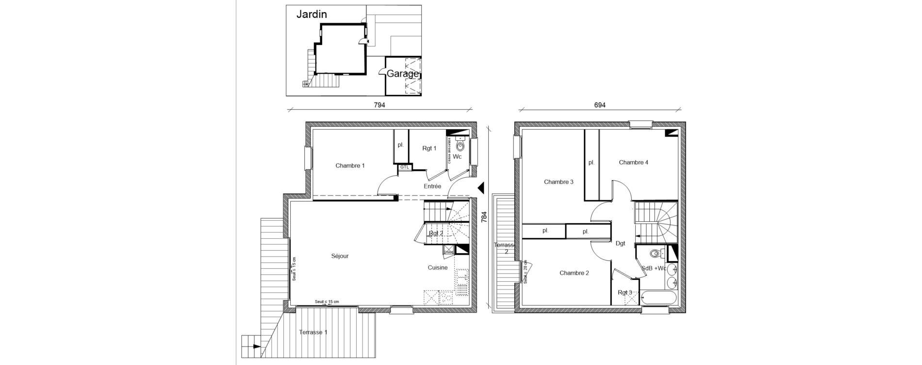 Villa T5 de 103,57 m2 à Pins-Justaret Centre