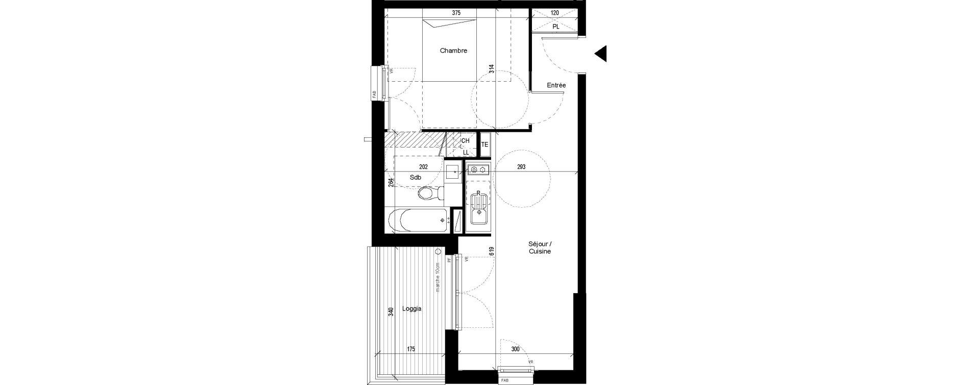 Appartement T2 de 38,66 m2 à Saint-Jory Centre