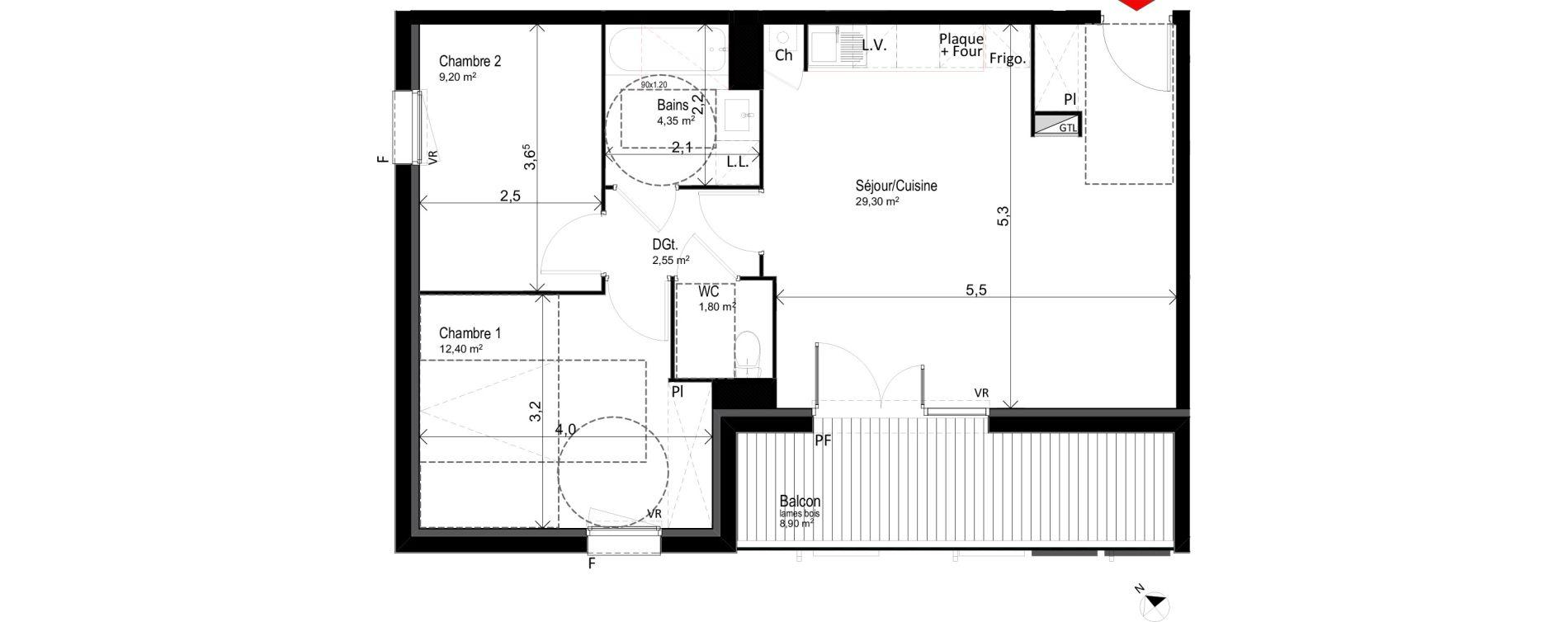Appartement T3 de 59,60 m2 à Saint-Orens-De-Gameville Centre