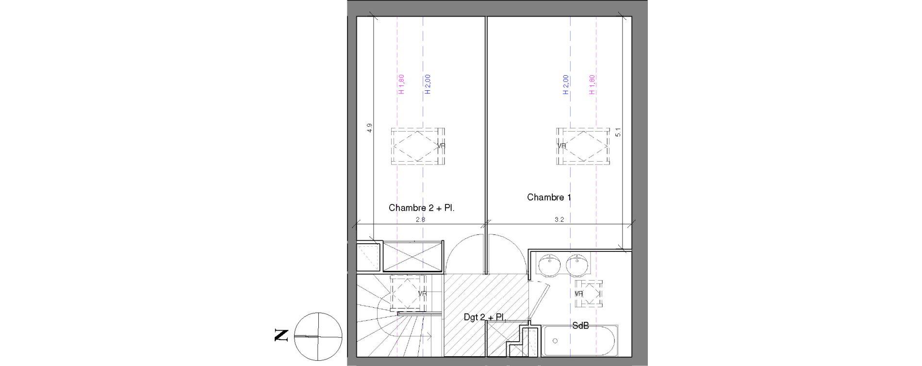 Duplex T3 de 67,70 m2 à Toulouse Croix daurade