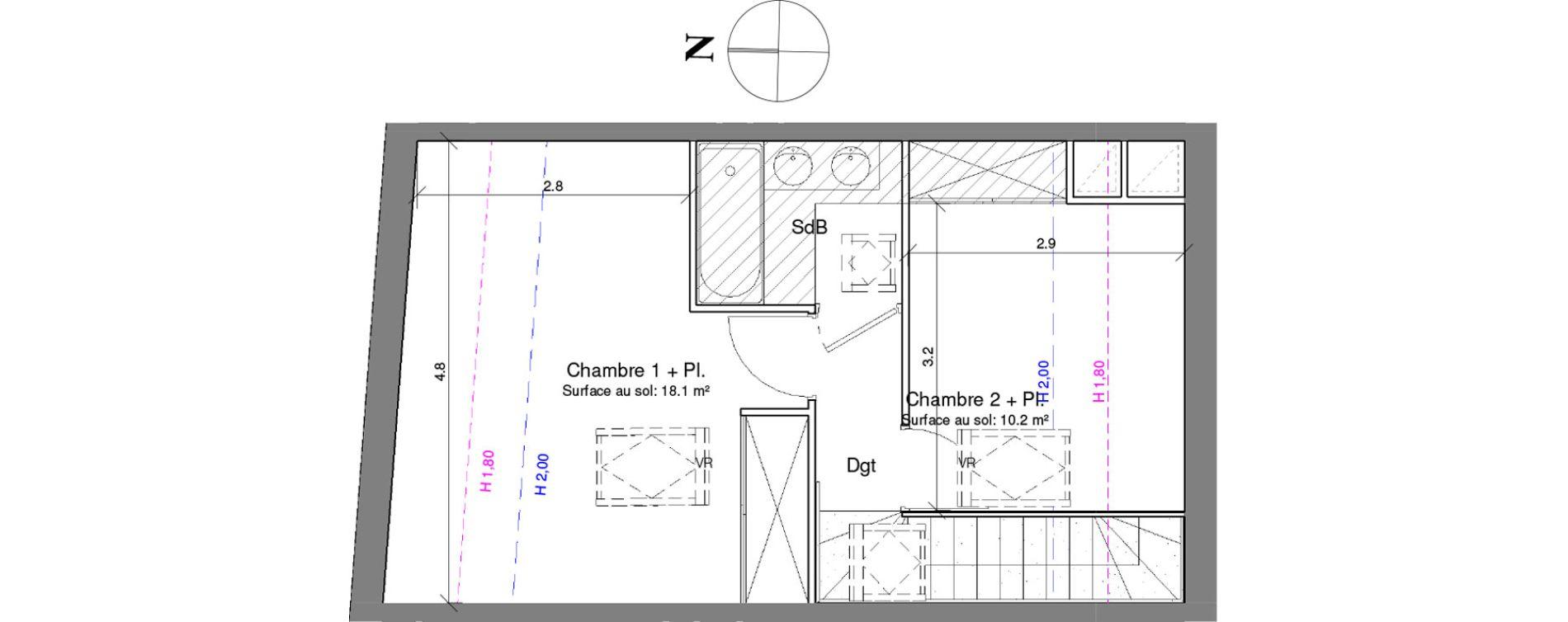 Duplex T3 de 58,30 m2 à Toulouse Croix daurade