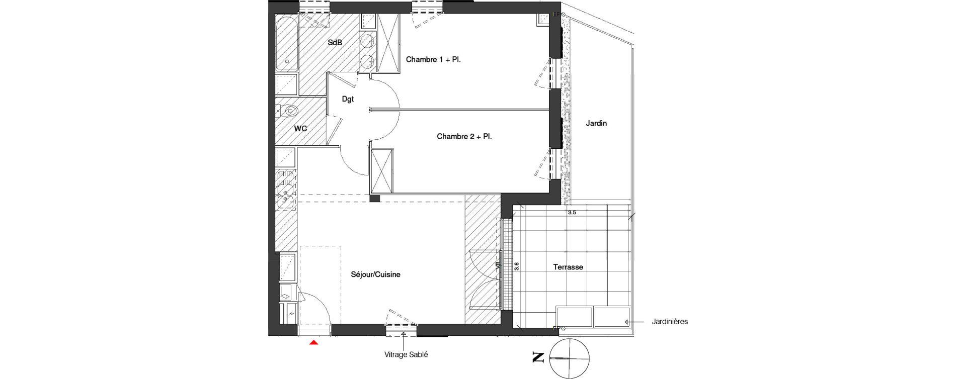 Appartement T3 de 64,40 m2 à Toulouse Croix daurade