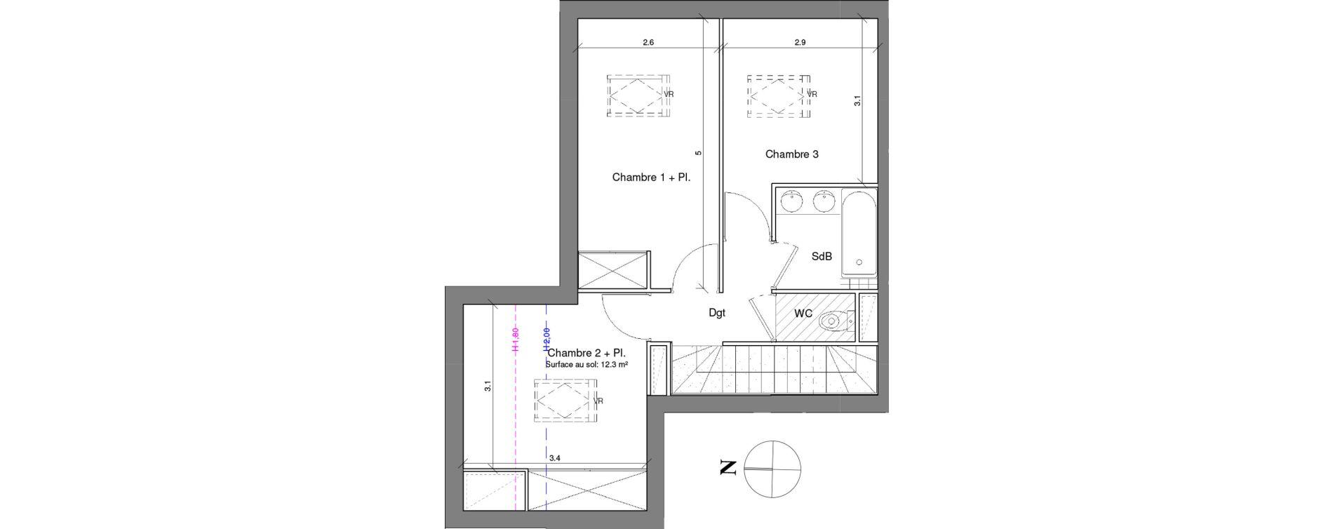 Duplex T4 de 85,30 m2 à Toulouse Croix daurade