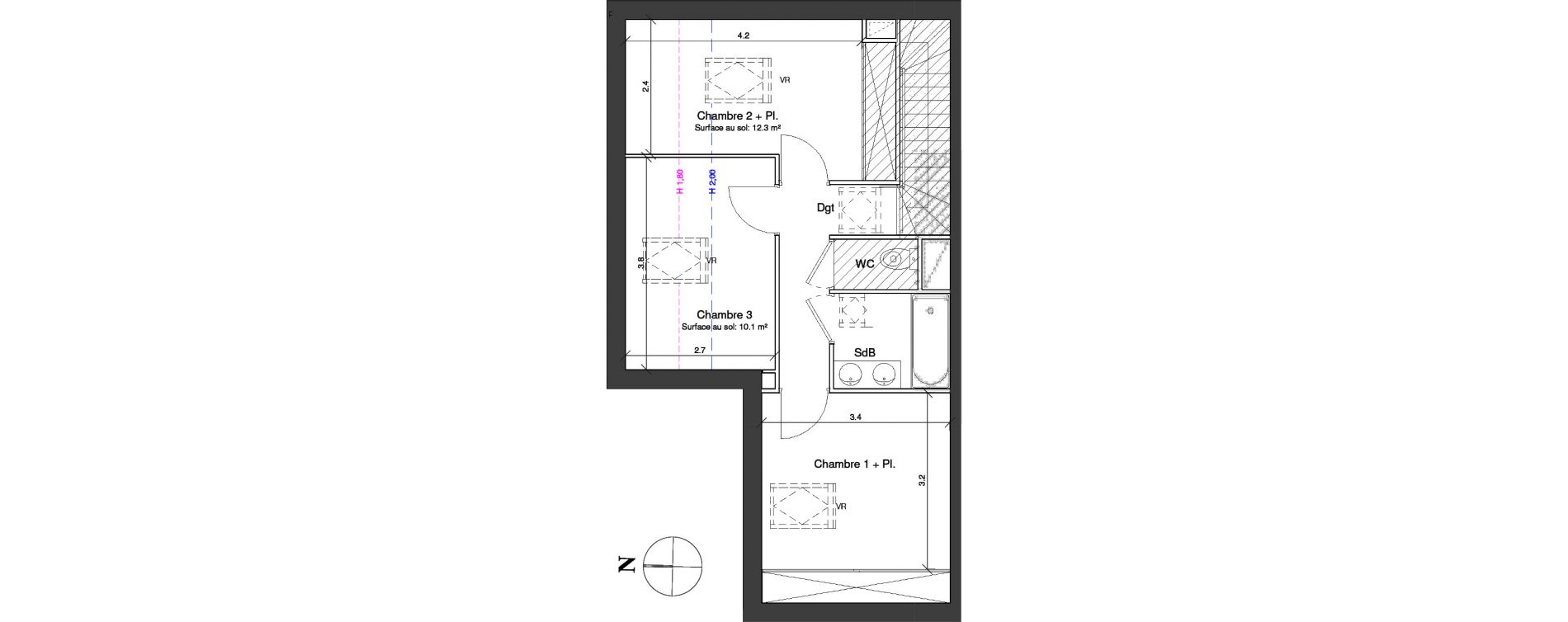 Duplex T4 de 83,70 m2 à Toulouse Croix daurade