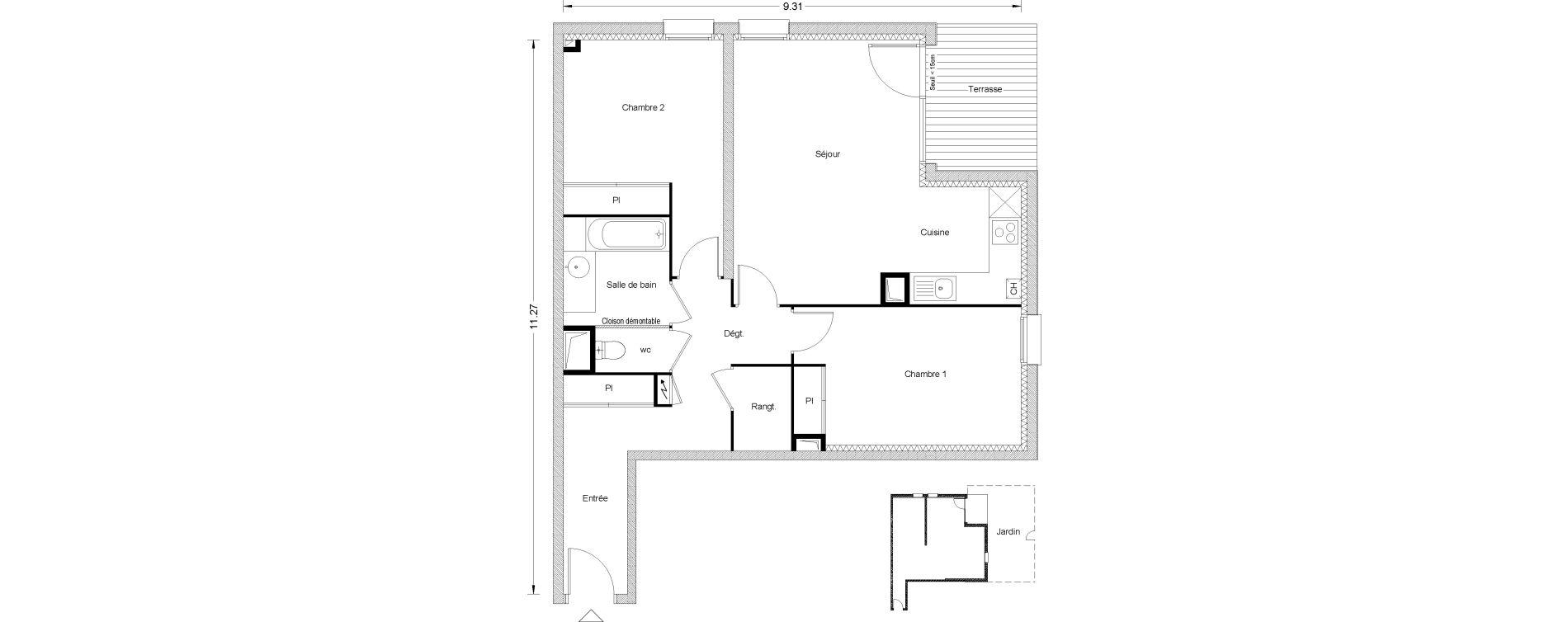 Appartement T3 de 70,45 m2 à Toulouse Pouvourville