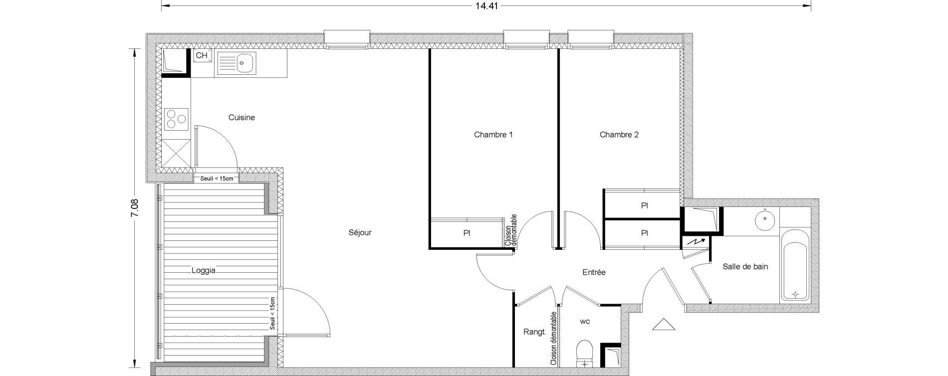 Appartement T3 de 71,16 m2 à Toulouse Pouvourville