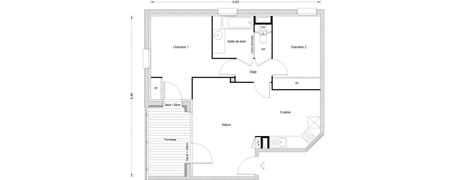 Appartement T3 de 58,86 m2 à Toulouse Pouvourville