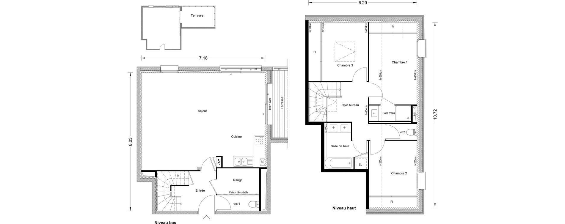 Duplex T4 de 94,12 m2 à Toulouse Pouvourville
