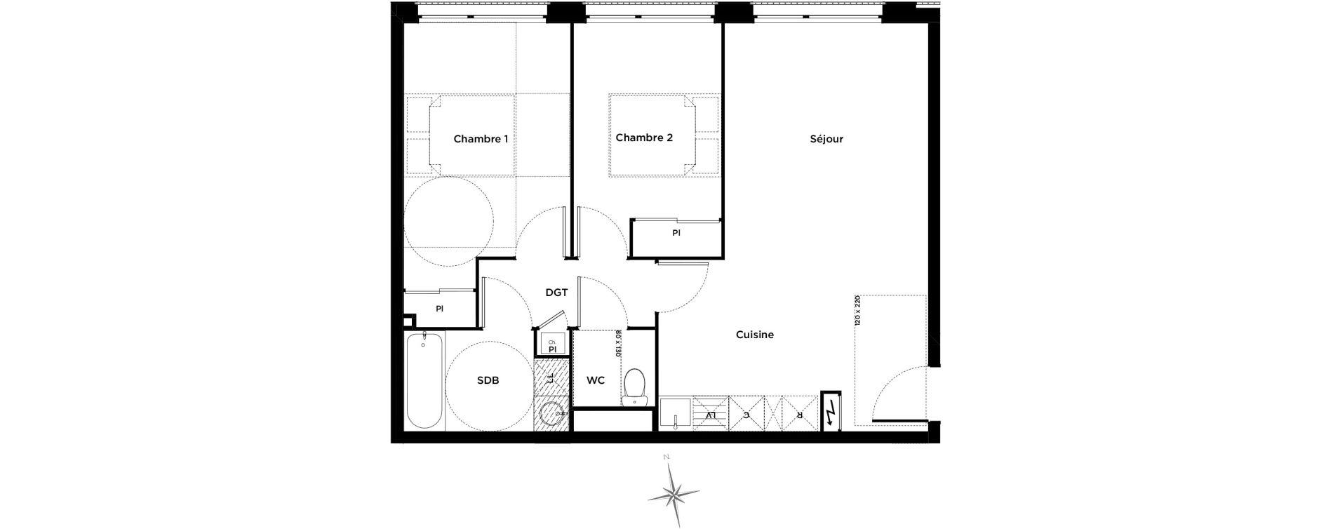 Appartement T3 de 59,00 m2 à Toulouse Le busca