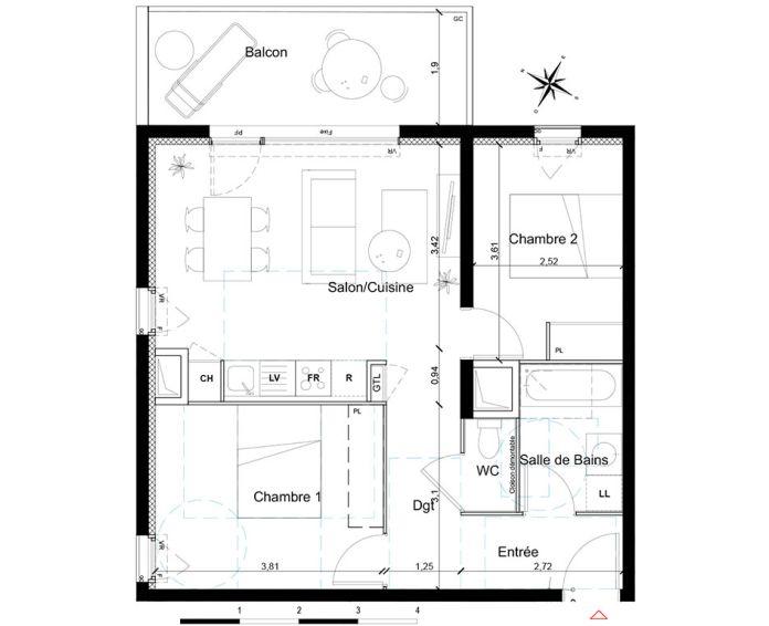 Appartement t3 toulouse n 026 nord est for 55 haute garonne