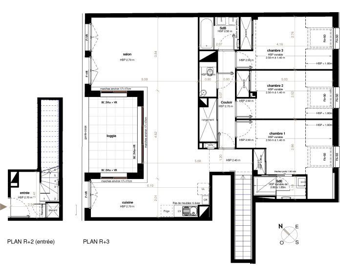 Appartement T4 Toulouse N 321 10705m² No Patio Roquelaine