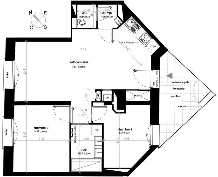 Appartement T3 Toulouse N 323 6218m² Se Patio Roquelaine