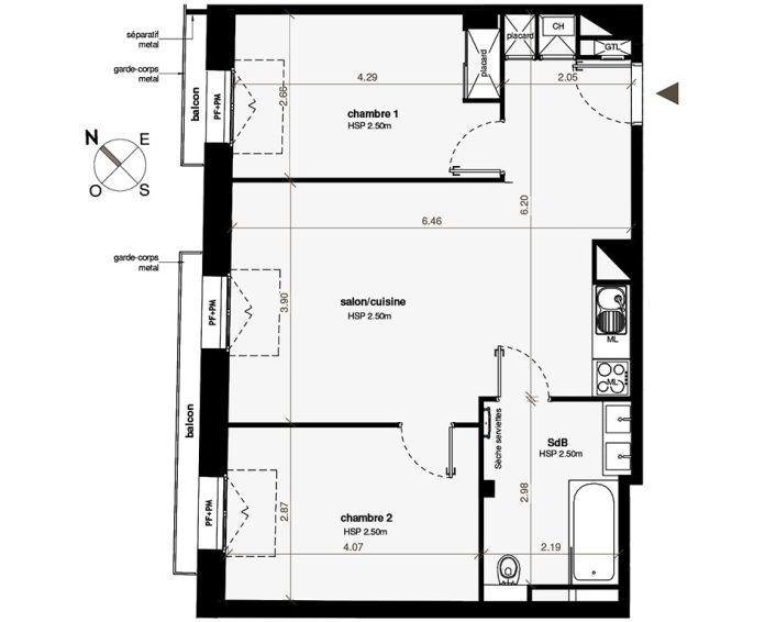 Appartement T3 Toulouse N 325 5851m² No Patio Roquelaine
