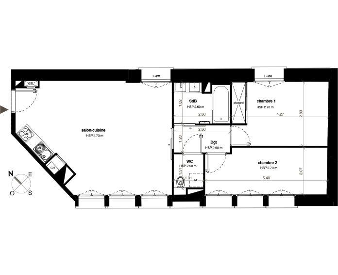Appartement T3 Toulouse N 327 6206m² So Patio Roquelaine