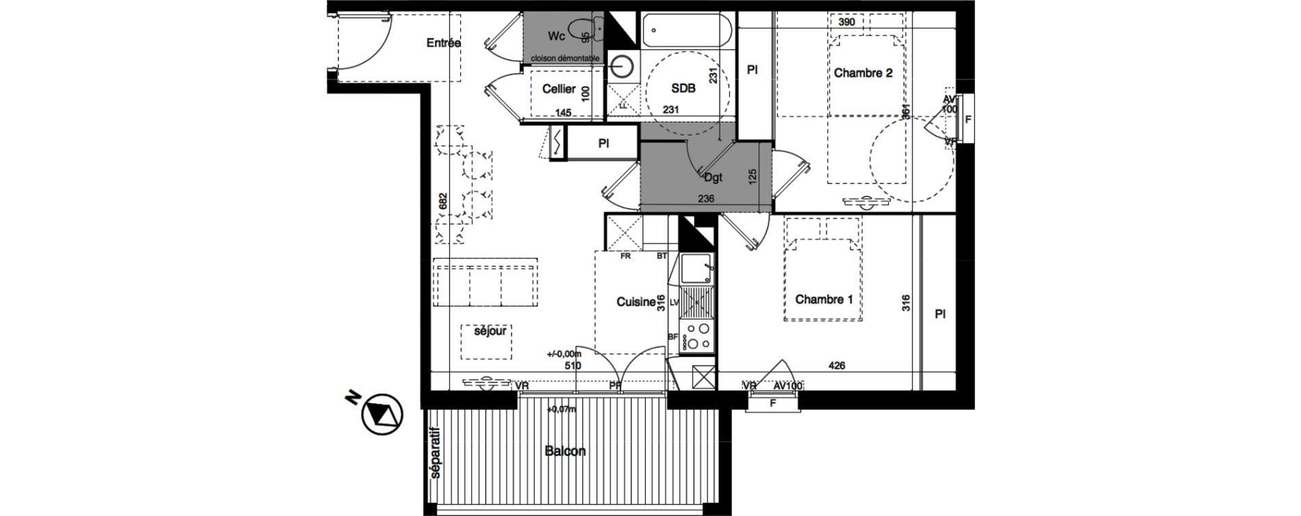 Appartement T3 de 64,22 m2 à Toulouse La roseraie