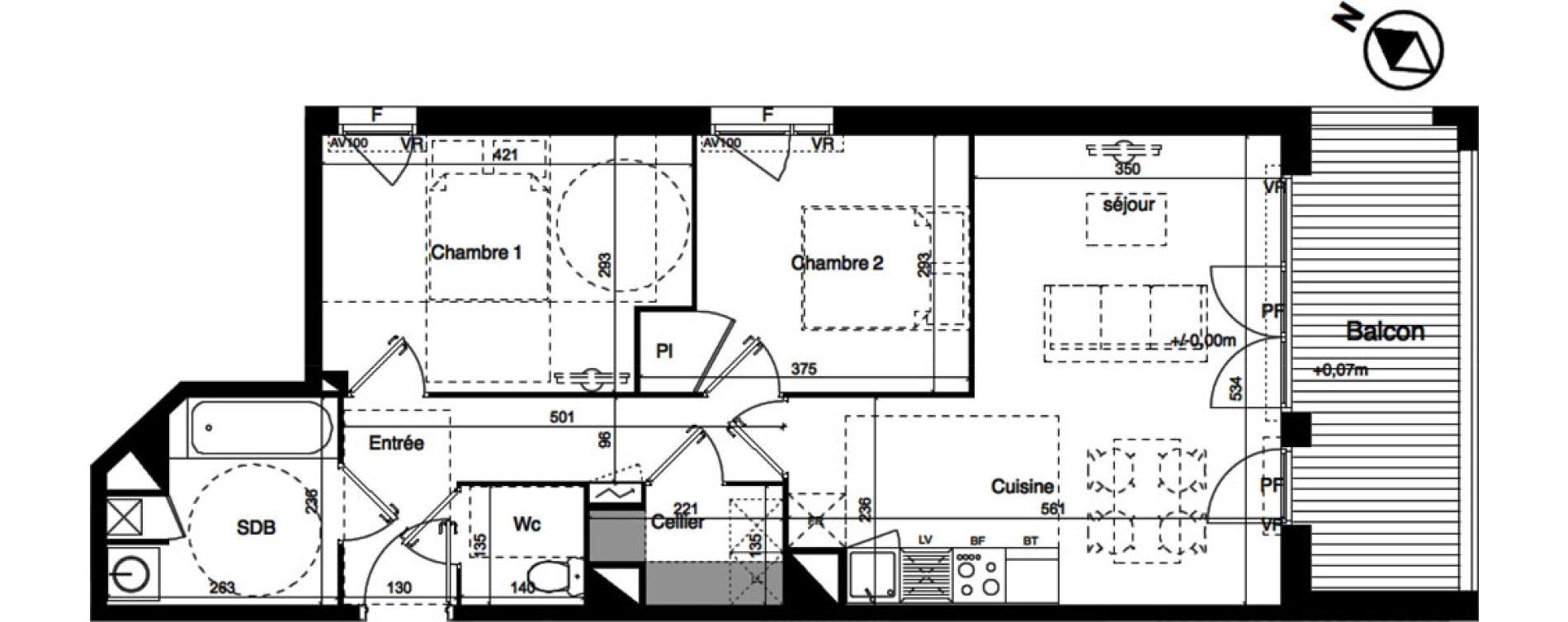 Appartement T3 de 60,97 m2 à Toulouse La roseraie