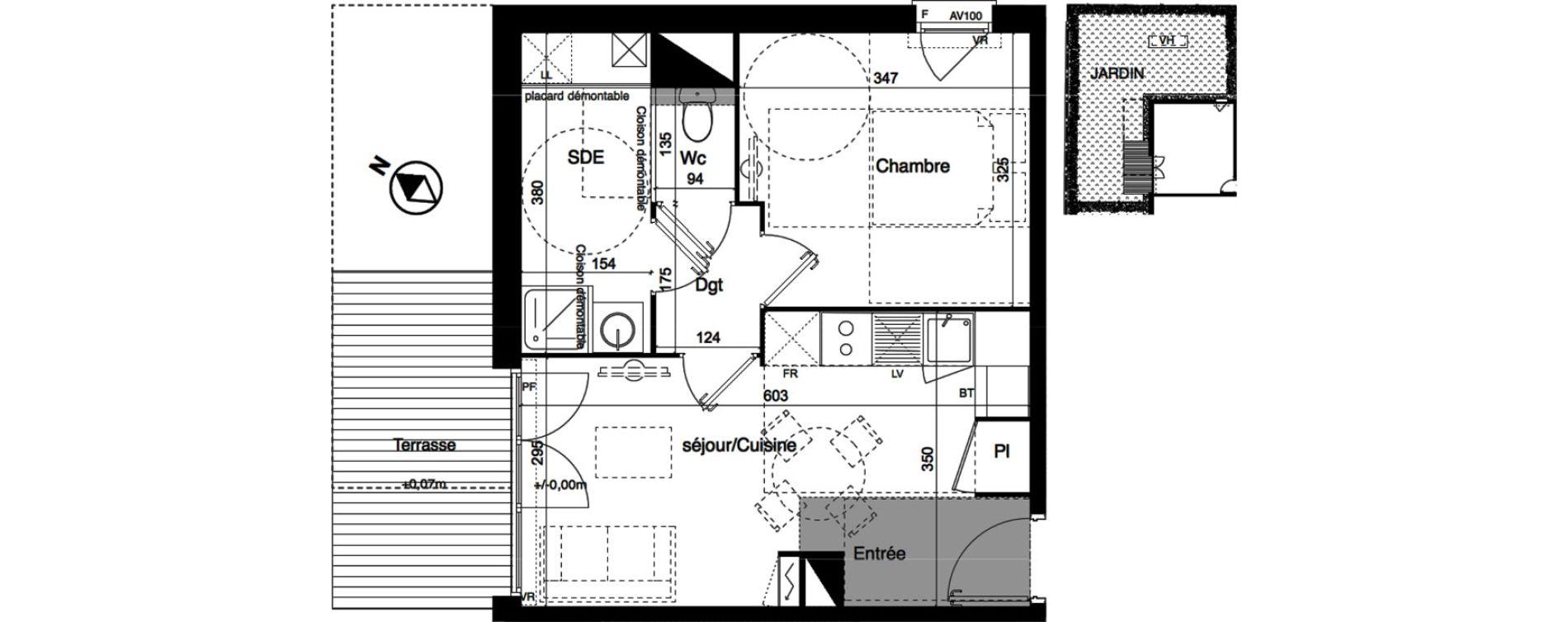 Appartement T2 de 39,30 m2 à Toulouse La roseraie