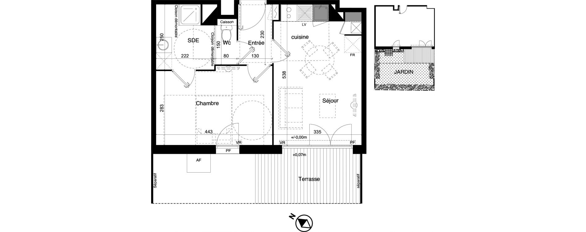 Appartement T2 de 39,76 m2 à Toulouse La roseraie