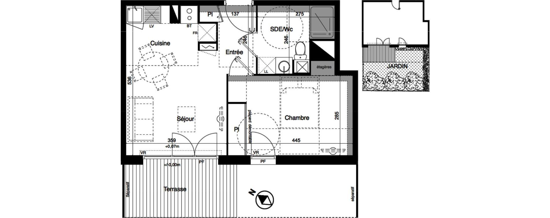 Appartement T2 de 40,36 m2 à Toulouse La roseraie