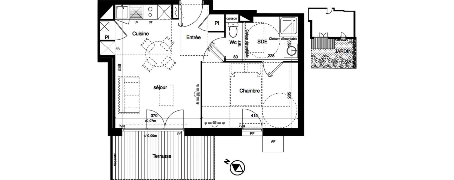 Appartement T2 de 40,63 m2 à Toulouse La roseraie