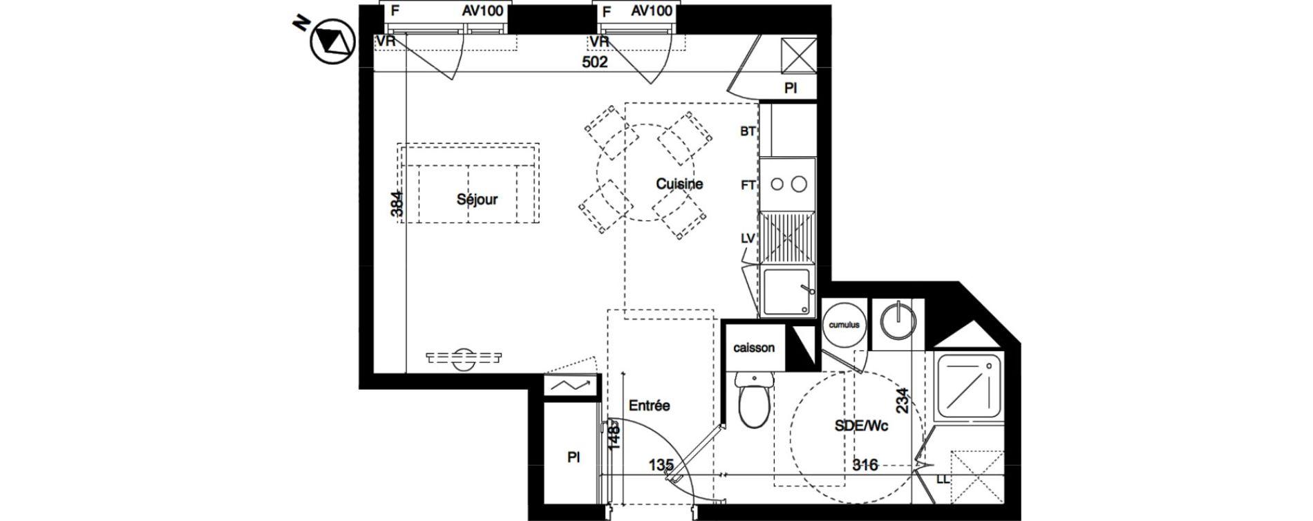 Appartement T1 de 27,88 m2 à Toulouse La roseraie