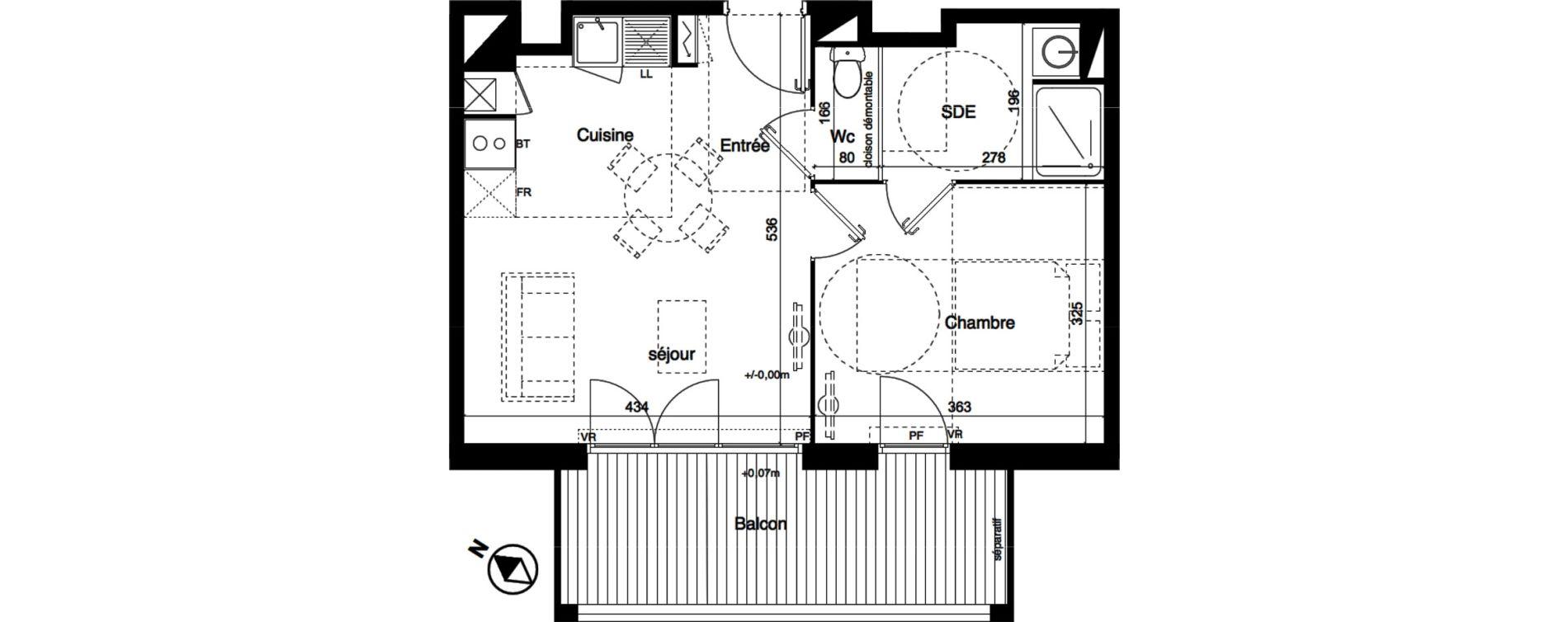 Appartement T2 de 40,39 m2 à Toulouse La roseraie