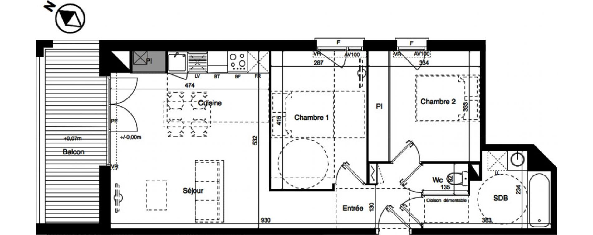 Appartement T3 de 61,76 m2 à Toulouse La roseraie