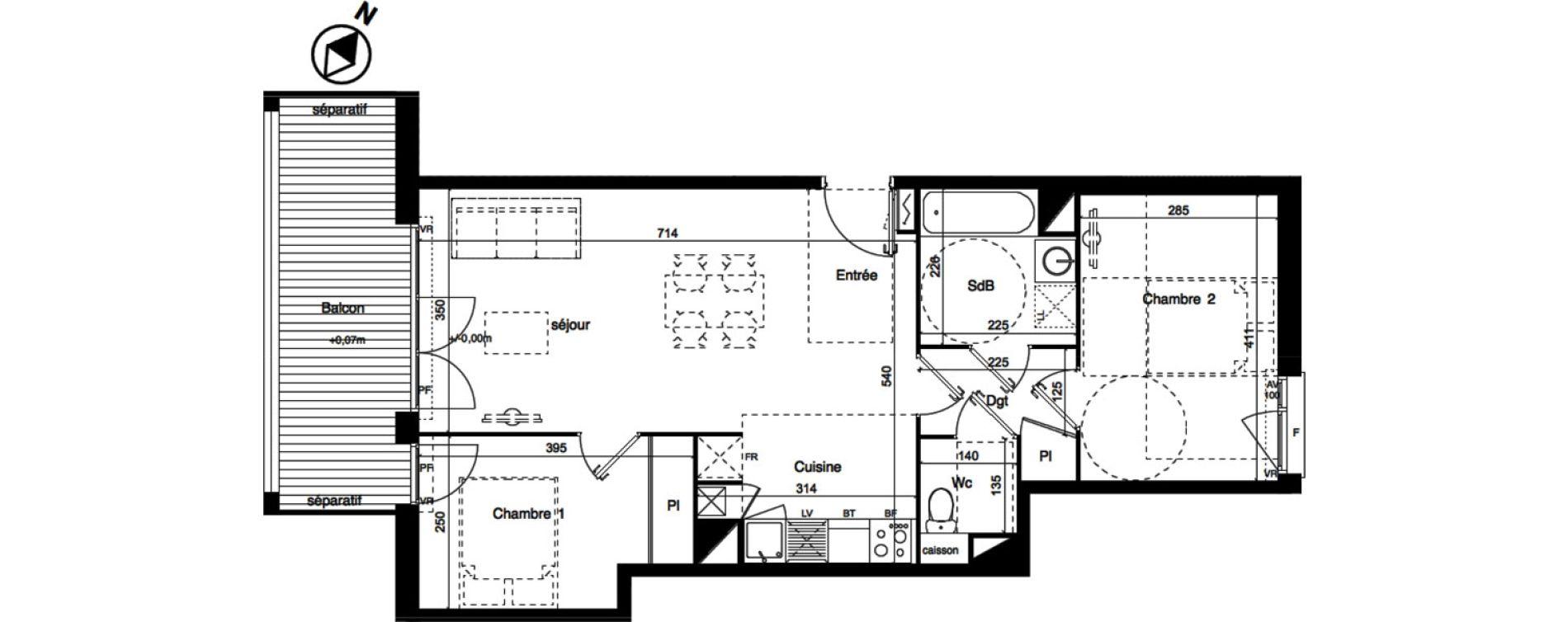 Appartement T3 de 61,62 m2 à Toulouse La roseraie