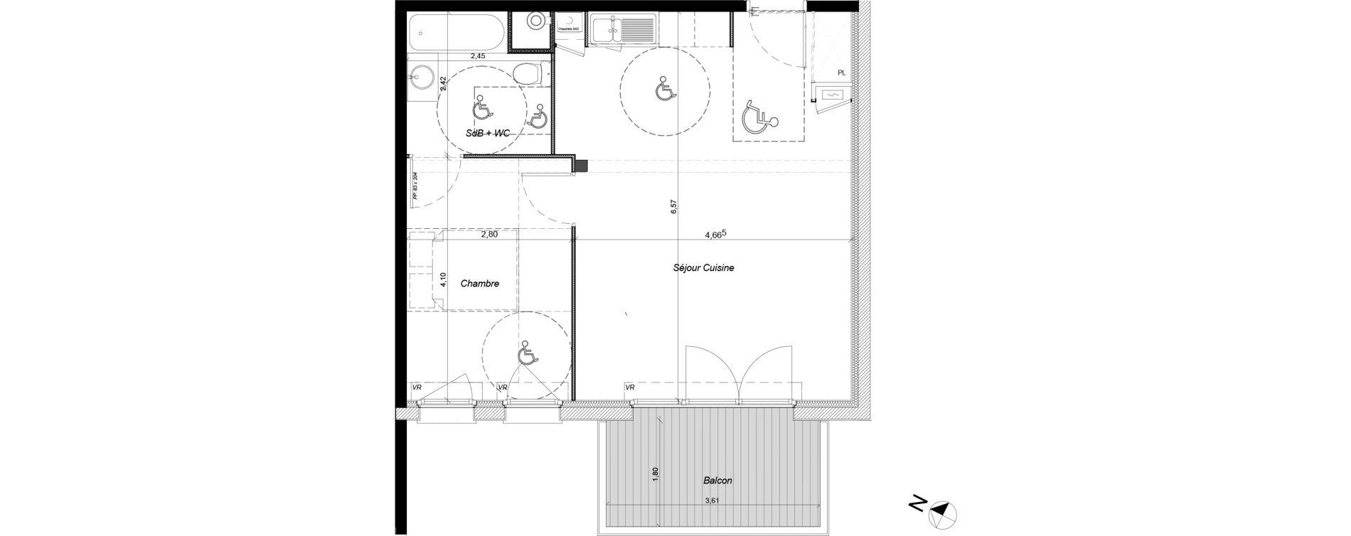 Appartement T2 de 48,16 m2 à Tournefeuille Centre
