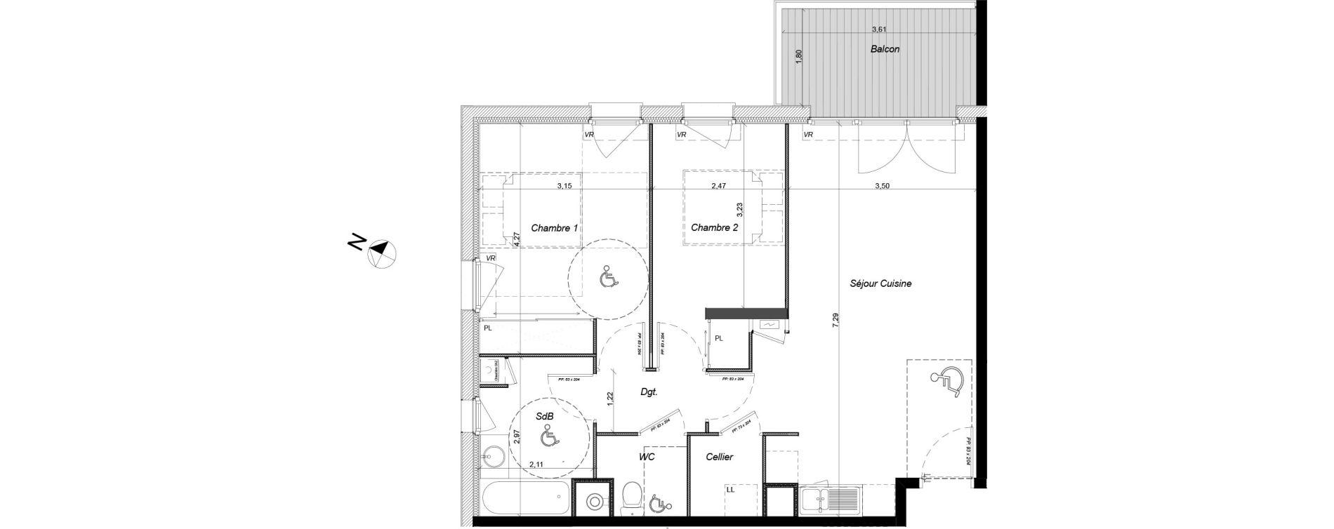 Appartement T3 de 63,51 m2 à Tournefeuille Centre