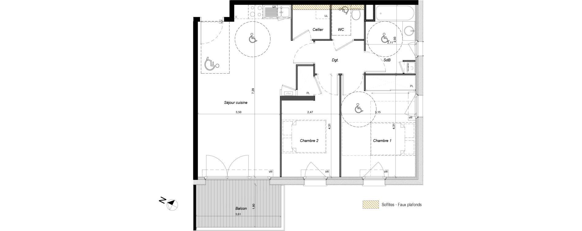 Appartement T3 de 64,05 m2 à Tournefeuille Centre