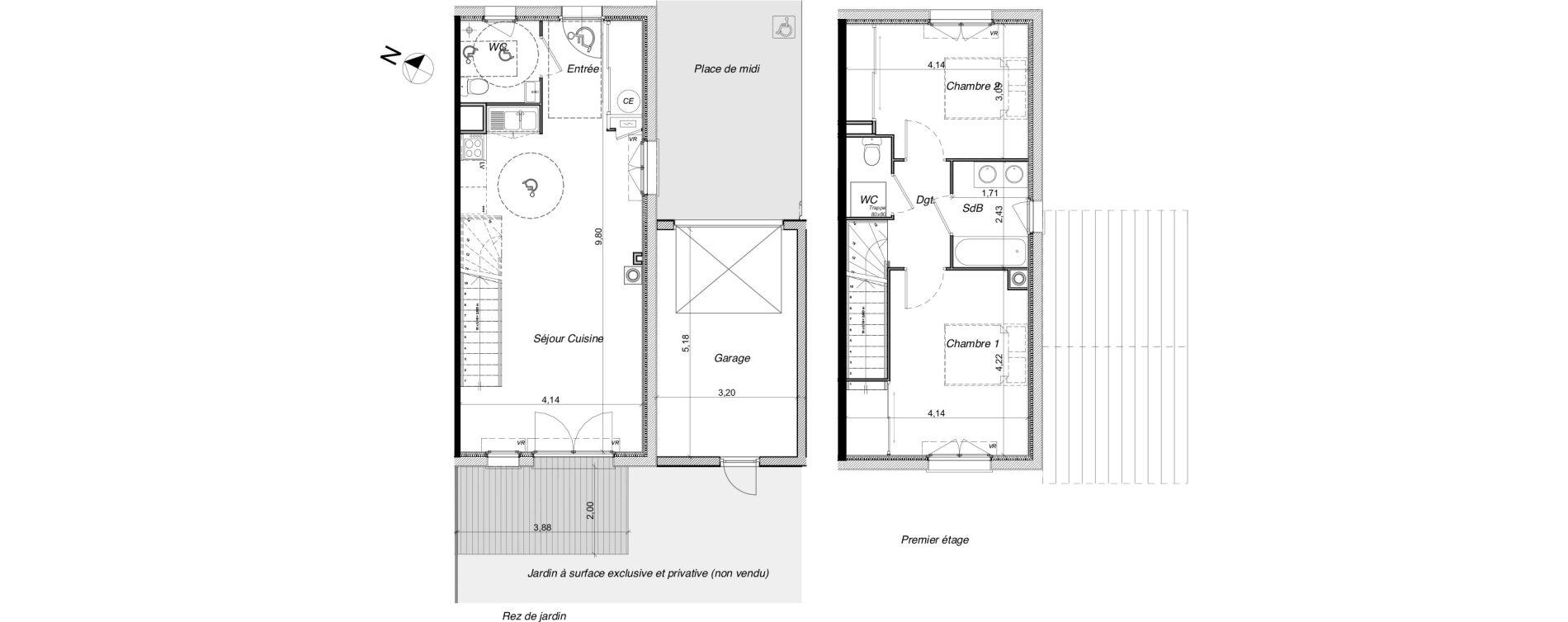 Villa T3 de 73,21 m2 à Tournefeuille Centre