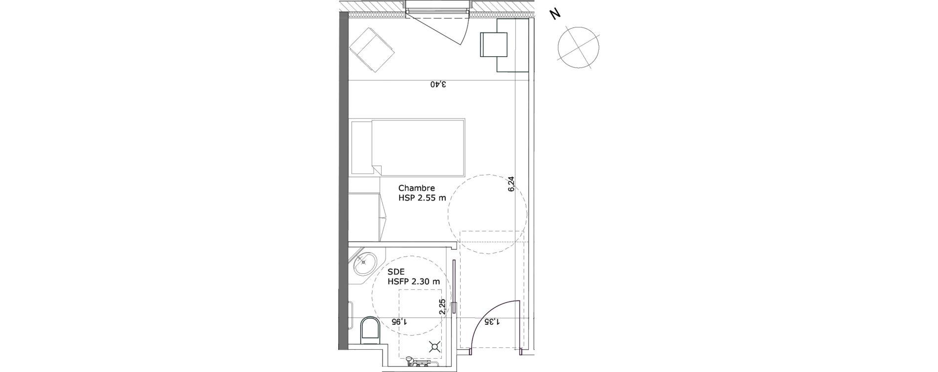 Chambre de 21,10 m2 à Ibos Centre