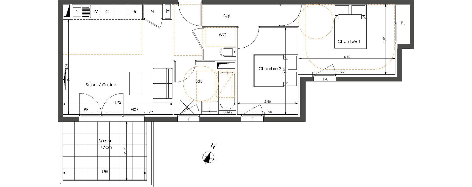 Appartement T3 de 59,00 m2 à Castelnau-Le-Lez Sablas - mendrous