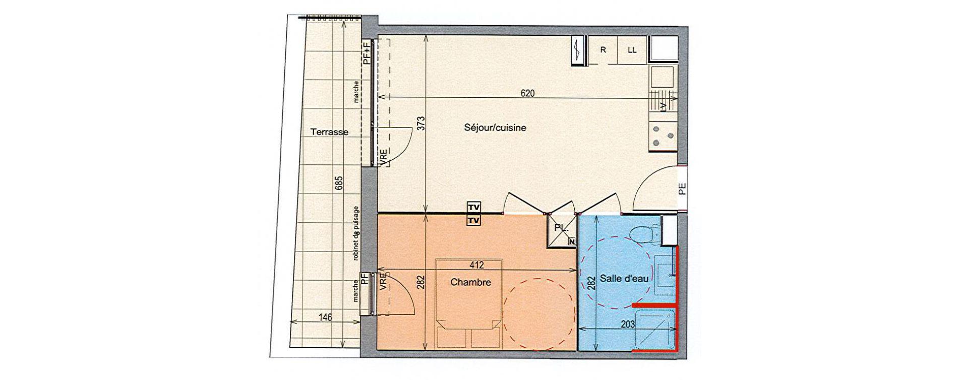 Appartement T2 de 39,56 m2 à Grabels La valsière