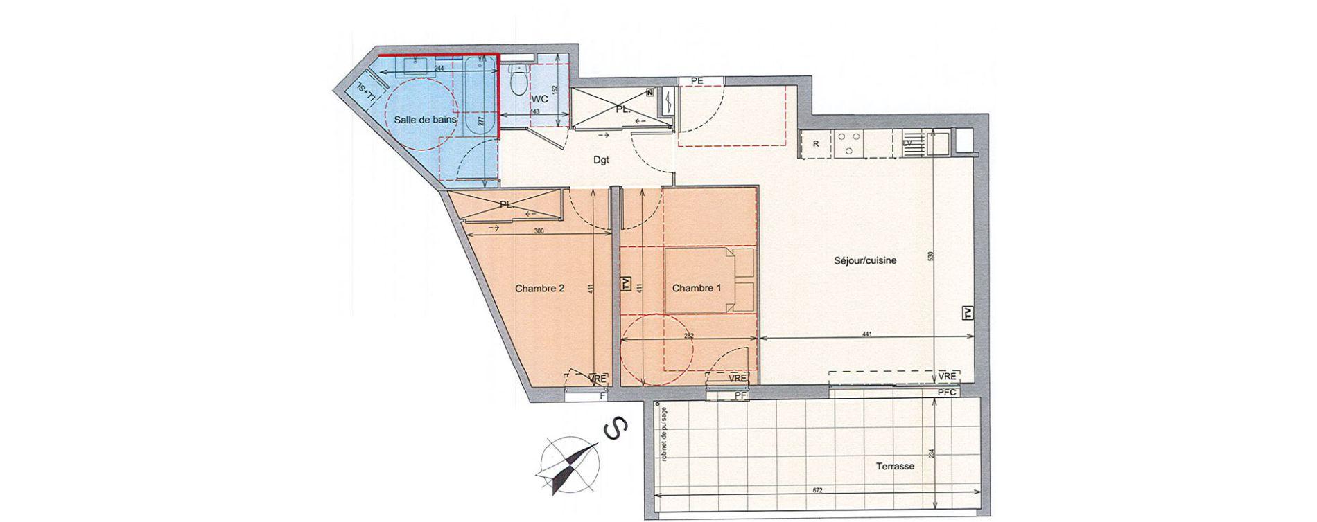 Appartement T3 de 63,66 m2 à Grabels La valsière