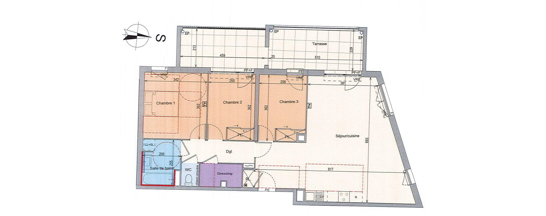 Appartement T4 de 86,16 m2 à Grabels La valsière
