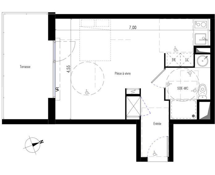 Plan Studio neuf à Marseillan de