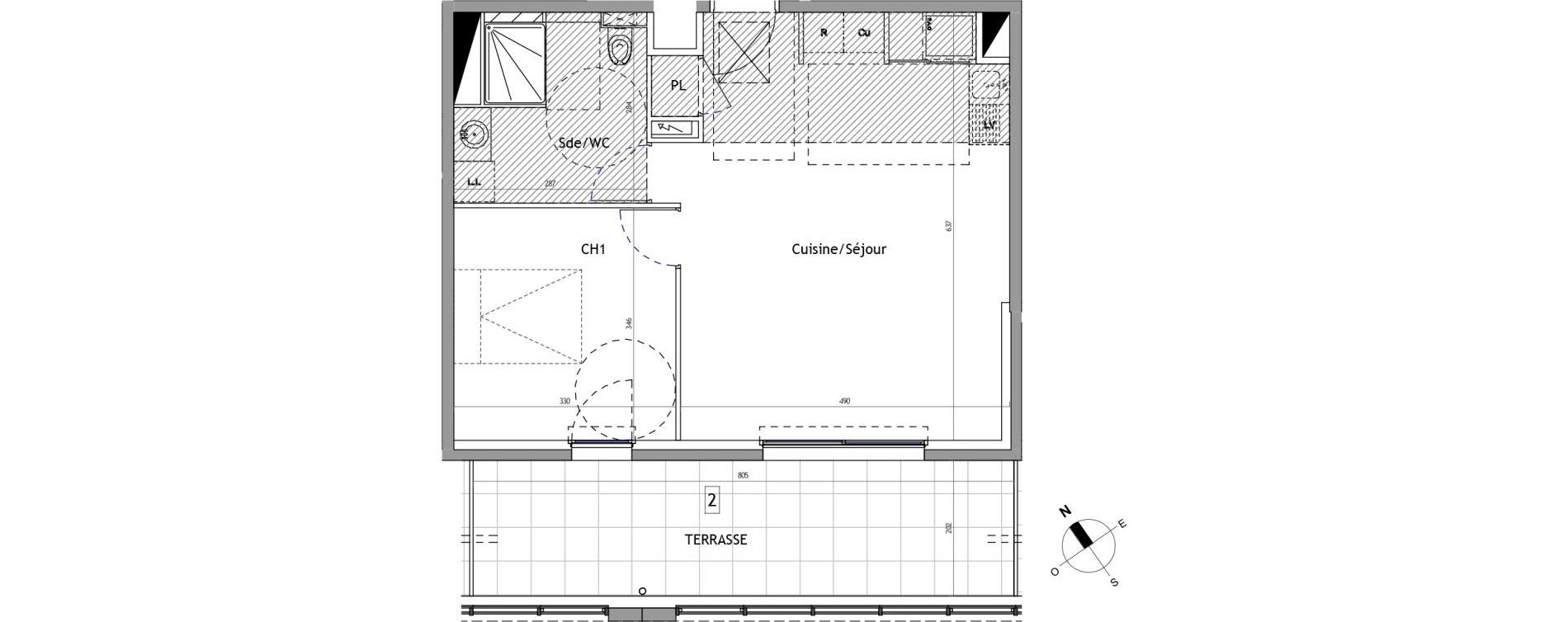 Appartement T2 de 49,60 m2 à Marseillan Centre