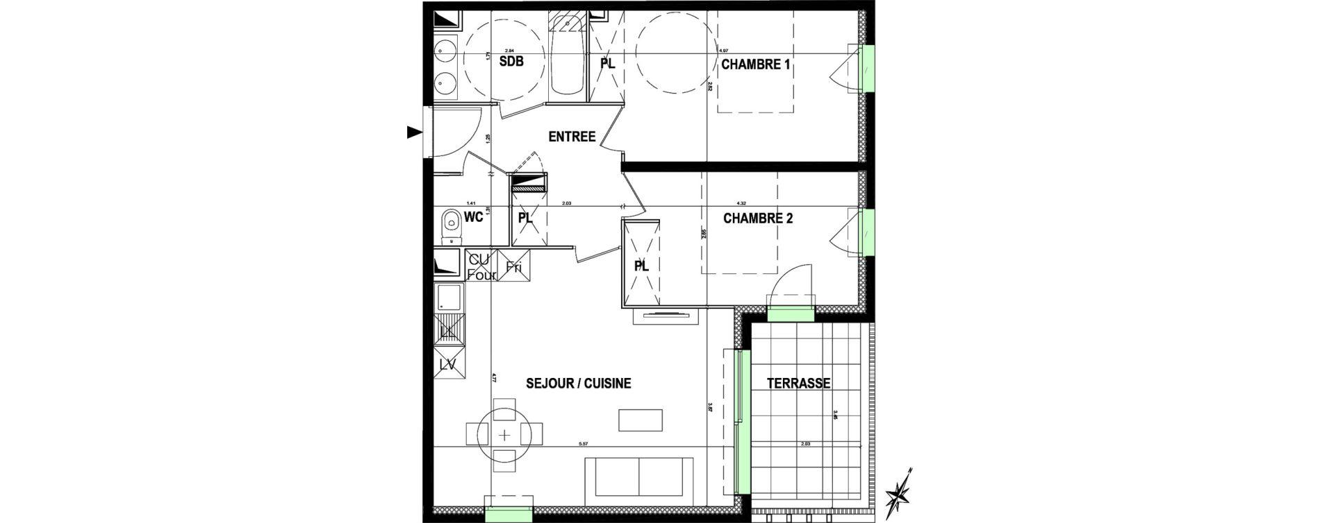Appartement T3 de 61,35 m2 à Mauguio Centre