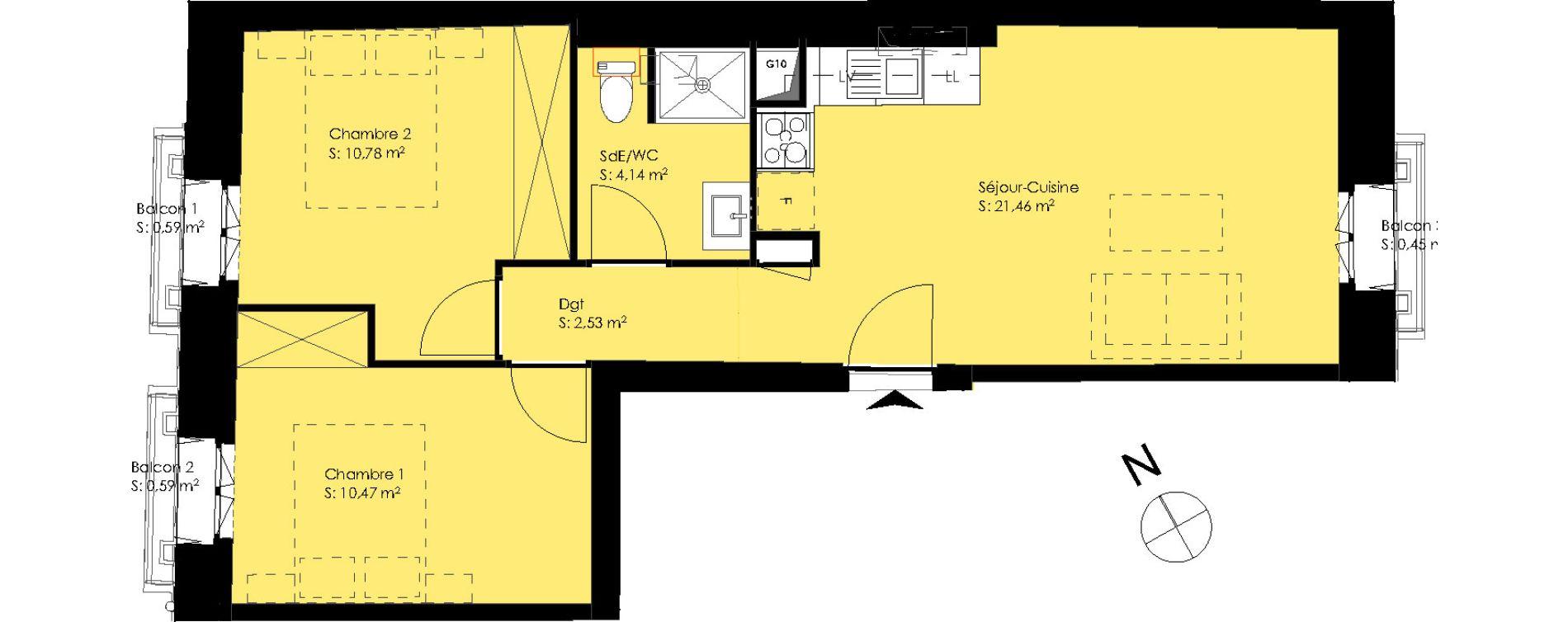 Appartement T3 de 49,38 m2 à Montpellier Montpellier gambetta