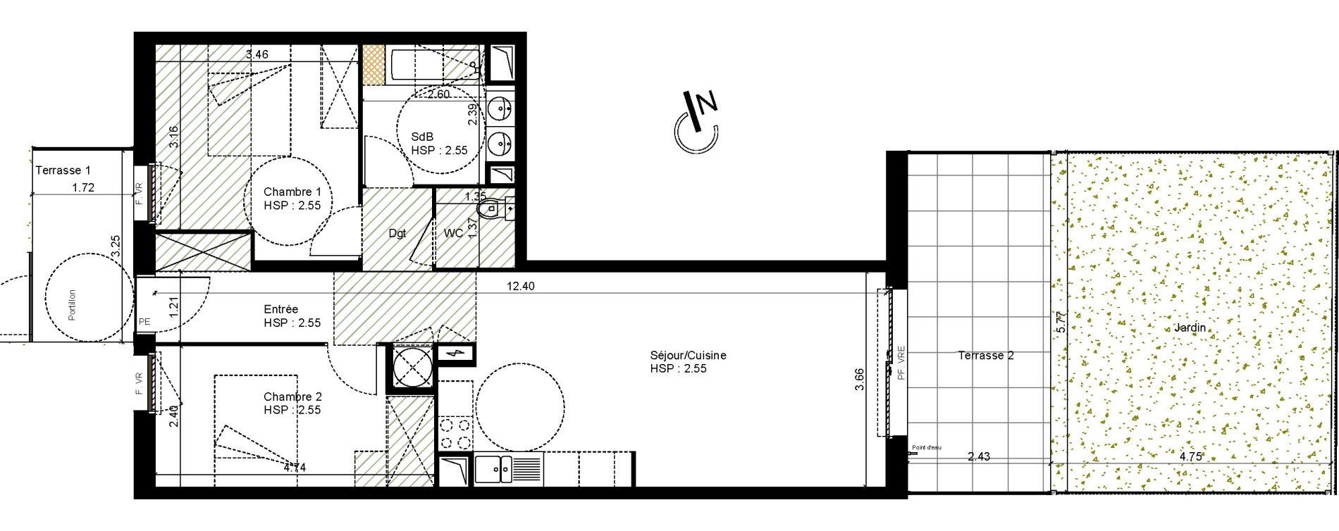 Appartement T3 de 66,38 m2 à Montpellier La restanque
